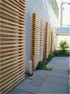 Exterior Design, Cool Wooden Contemporary Landscape Garden Screening Ideas With Gray Bricks Wall Color Also Modern Stones Flooring Design Al. Trellis Design, Trellis Ideas, Pergola Diy, Backyard Privacy, Pergola Ideas, Concrete Backyard, Backyard Decks, Terrace Ideas, Concrete Fence