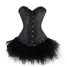 Zanuce Women's Plus Size Lace Up Overbust Corset Bridal Lingerie With Tutu,Black,4X-large