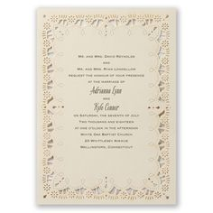 Eyelet Lace Wedding Invitation by David's Bridal. #davidsbridal #weddinginvitations #rusticweddings