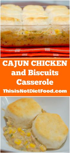Not sure what is Cajun about this except a little seasoning- but sounds good. Cajun Chicken and Biscuits Casserole. Easy weeknight dinner using leftover chicken and Pillsbury biscuits. Diet Recipes, Cooking Recipes, Cajun Recipes, Recipies, Cajun Cooking, Creole Recipes, Casserole Dishes, Chicken Casserole, Casserole Recipes