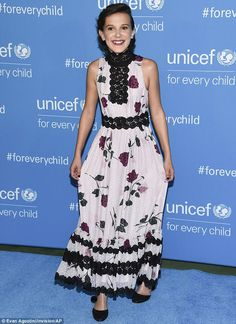 Miniature fashionista: Millie Bobby Brown attended UNICEF's 70th anniversary vent in New York City on Monday