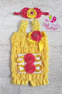Baby Girl Birthday Outfit Cake Smash by Pinkpaisleybowtique You are my sunshine birthday outfit yellow petti rompers $44.99 4 pc set, romper, headband & barefoot sandals
