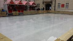 The ice skating rink is battling against the warmer weather - at this year's Christmas markets in Bratislava city, Slovakia.