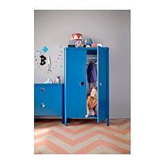 IKEA - BUSUNGE, Armoire, , Vous pouvez régler la hauteur de la tringle et des étagères, suivant la croissance de votre enfant.Grâce à l'amortisseur intégré, les portes se ferment lentement, en silence et en douceur.Les poignées intégrées ont une protection en plastique transparent pour éloigner la poussière et les saletés tout en permettant de voir le contenu des tiroirs.Cette armoire comporte des bords arrondis et des accessoires de fixation cachés.Assez profond pour recevoir des ci...