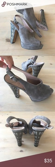Vince Camuto leather sling back caged heels 8.5 Vince Camuto suede leather heels beautiful pewter color with intricate metal design on the heels. Size 8.5 Vince Camuto Shoes Heels