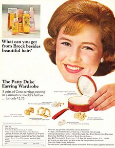 Actress Patty  Duke in a 1964 ad for Breck shampoo: