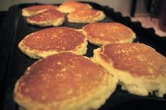 Almond flour pancakes on griddle...supper tonight.  :)
