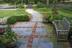 blue stone and red brick patio | Red Brick Pavers Design Ideas, Pictures, Remodel, and Decor