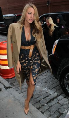Street styles   Belted top and printed pencil skirt