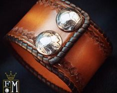 Leather cuff Bracelet Brown sunburst Vintage style laced, hand tooled, Buffalo nickels - Quality Made for YOU in USA by Freddie Matara Leather Cuffs, Leather Belts, Leather Jewelry, Calf Leather, Brown Leather, Leather Wristbands, Vintage Fashion, Vintage Style, Custom Leather