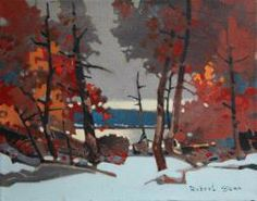 November, Clearwater Bay, LOTW -- acrylic on canvas 11 x 14 inches by Robert Genn The left hand keeps moving the painting away for assessmen...