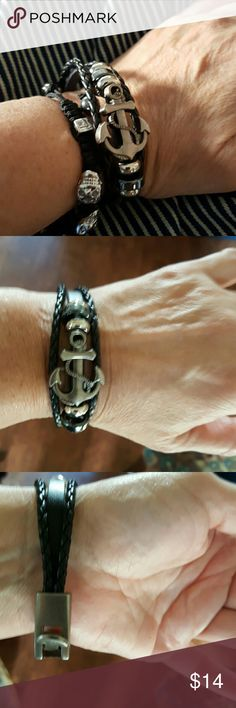 New Unisex leather punk anchor bracelet Will come in plastic and in box. It measures 8 inches to the end and is a little loose on me as shown. I have a 7 inch wrist so there is room slightly over 7. Price firm. Anchor is a brushed silver pewter tone surrounded by a haematite color and silver beads Mine Jewelry Bracelets