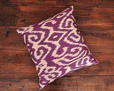 ikat fabric, throw pillow, ikat cushion, suzani, decor by DecorUZ Ikat Pillows, Velvet Pillows, Decorative Throw Pillows, Decorative Accents, Velvet Upholstery Fabric, Ikat Fabric, Printed Silk Fabric, Comfortable Pillows, Fabric Textures