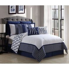 13 Piece Mr. and Mrs. Navy/White Reversible Bed in a Bag w/500TC Cotton Sheet Set - Walmart.com