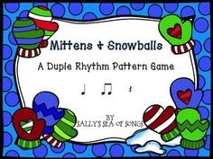 Practice rhythm patterns with this fun Koosh ball (snowball) game! Tap the mittens, or gently throw a koosh ball at the interactive whiteboard to reveal a duple meter rhythm pattern. Work in teams for a fun game, or as an individual assessment. Printable cards suitable for centers are also included! Rhythms include quarter notes, barred eighth notes, quarter rest. This file will work with any counting system.