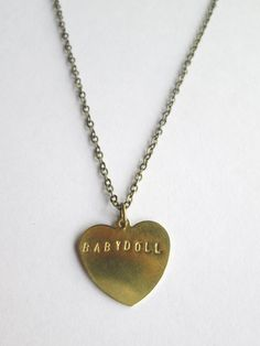 1.5 MM Stamped Brass Heart Necklace