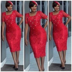 Tomato red African Lace, African Wear, Red Dress Outfit, Dress Outfits, Sheath Dress, Bodycon Dress, Plus Size, Pure Products, Formal Dresses