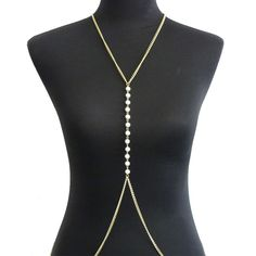 Fashion Sexy Women Bikini Long Body Chain Gold Plated Metal Chain Tassel Necklace Imitation Pearl Body Jewelry Accessories