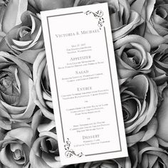 Printable Wedding Menu Template Elegance Black White