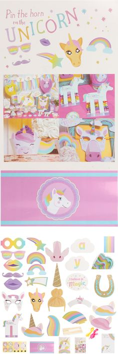 Unicorn Kids Happy Birthday Party Supplies Mask Cake Topper Paper Home Decor Set