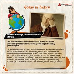 Today in History The foundations of modern India were laid by the British governor-general, Warren Hastings. #todayhistory #didyouknow #didyouknowthat #edugorilla #education #learning #students #teachers #success #inspiration #motivation #knowledge #WorldWar #WorldWar1 Today History, Modern India, Online Tests, Study Materials, Foundation, Students, Knowledge, British, Success