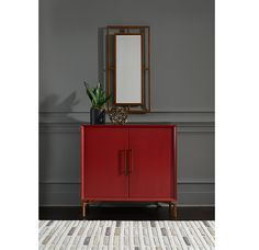 Storage with style, so good at fitting in a slim spot: Ming red lacquer chest and complementing mirror #smallspacesolution #chicstorage