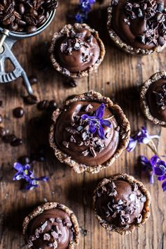 Mini Vegan No-Bake Chocolate Mocha Fudge and Coconut Tarts | halfbakedharvest.com @hbharvest