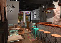 Ontwerp Interieur Café Nassau Breda Danielle Verhelst Interieur & Styling #café #restaurant #interieur #interior #bar #render #3D #visualisatie #visuals #schaarlamp #industrieel #kruk #koper #breda #advies #binnenhuis #architect #styling #stiliste #advies