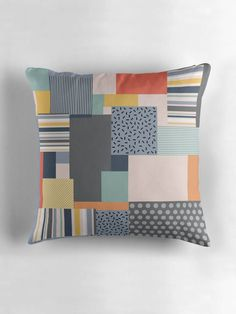 Memphis style print, Colour block cushion, Colour block pillow, 80s decor, 80s inspired, Grey cushions, Striped cushion, Filled cushions by ShadowbrightDesigns on Etsy https://www.etsy.com/uk/listing/550420404/memphis-style-print-colour-block-cushion