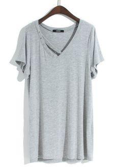 Grey Short Sleeve Hollow Rivet Modal T-Shirt - Sheinside.com