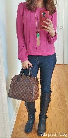Top & Necklace: Forever 21, Boots: Old Navy, Bag: Louis Vuitton Speedy 25 Damier Ebene