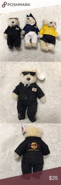 Hard Rock Cafe bears in excellent condition Hard Rock Cafe collectible bears. Boston, Salt Lake City and Washington, D.C. Hard Rock Cafe Other