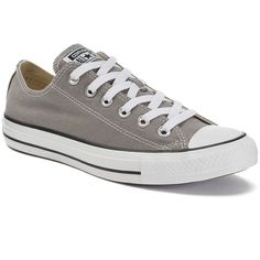 Adult Converse All Star Chuck Taylor Sneakers ($55) ❤ liked on Polyvore featuring shoes, sneakers, converse, grey, laced shoes, gray sneakers, converse trainers, unisex shoes and converse shoes