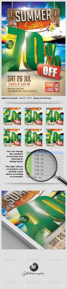 "3D Summer Sales Flyer Template   #GraphicRiver         A modern and unique flyer design for your next summer promotion. Easy to modify, like changing colors, dimensions, etc. All text, except the discount numbers in 3D, are editable. You can change the numbers of discount just showing or hiding layers. You can too hide and show some layers and obtain more unique results!  	 Features:   1 Print ready Photoshop file 1275px x 1875px (4×6"" with .25"" bleeds)  Each layer has its own name for your…"