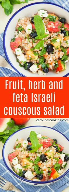 This fruit, herb and feta Israeli couscous salad is light and refreshing with fresh fruit and cooling herbs, but filling enough to be a great lunch or side. Perfect for summer Easy Green Salad Recipes, Side Salad Recipes, Salad Recipes For Dinner, Summer Salad Recipes, Easy Appetizer Recipes, Spring Recipes, Healthy Salad Recipes, Summer Salads, Side Dish Recipes