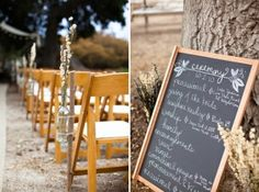 DIY Decor- Chalkboard in lieu of ceremony programs, dried gardenia stem bouquets by kesh0410