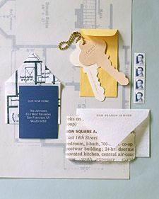 Show off a little with an envelope made from blueprints of your home's floor plan. A copy shop can make prints for you. Open an envelope's flaps and use as a template to trace onto the prints. Cut out; fold and glue the flaps. Keys are powerful symbols of home ownership. Trace your set and enlarge on a copier to desired size; use copies as templates to cut out of card stock.