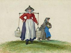 Adriaen Van De Venne, (Watercolor) A Milkmaid, 1625