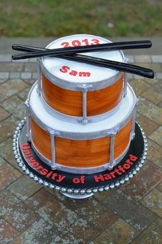 Snare Drum Graduation Cake  on Cake Central                              …