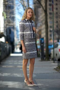 The Classy Cubicle: Style Inspiration - Coordinates >> Dress: Tory Burch     Jacket: Tory Burch     Shoes: Ralph Lauren