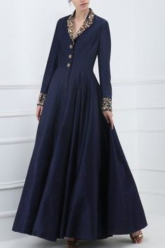 Samant Chauhan presents Navy blue embroidered front open gown available only at Pernia's Pop Up Shop. Indian Gowns Dresses, Pakistani Dresses, Indian Designer Outfits, Designer Gowns, Designer Clothing, Gown Pattern, Dress Patterns, Long Kurti Patterns, Anarkali Dress