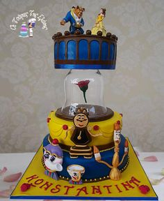 Beast and the beauty - Cake by Moustoula Eleni (Alchemists of cakes) Girly Cakes, Big Cakes, Crazy Cakes, Beautiful Cake Designs, Beautiful Cakes, Amazing Cakes, Cupcakes, Cupcake Cakes, Belle Cake