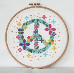Love Peace and Happiness Cross Stitch por BisforBumblebee en Etsy