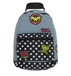 This Wonder Woman backpack is rendered in light blue denim and personalized with several Wonder Woman-inspired patches. Oh, and check out the star-layered pocket!
