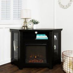 Corner Fireplace Media Tv Stand