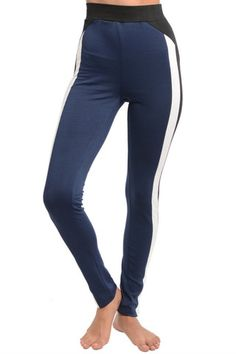 65% COTTON 30% RAYON 5% SPANDEX Made in China Regular rise, stretch knit fabric, contrast side panels, skinny silhouette These leggings feature a regular waist, contrast side panels, skinny silhouette, and a stretch knit fabric. Which will go great with an oversized sweater and ankle booties for an on season trendy look.
