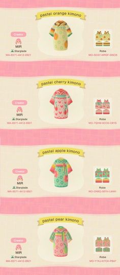Pastel Fruit Kimonos : acnh - Pastel Fruit Kimonos : acnh Source by - Animal Crossing Guide, Animal Crossing Qr Codes Clothes, Animal Crossing Pocket Camp, Batik Shirt, Wallpaper Collection, Motifs Animal, Drawing Clothes, New Leaf, Islands