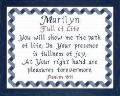 Marilyn - Name Blessings Personalized Cross Stitch Design from Joyful Expressions Cross Stitch Designs, Stitch Patterns, Names With Meaning, Powerful Words, Gifts For Family, Joyful, Custom Framing, Cross Stitch Embroidery, Blessings
