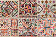 The six various geometric patterns are made by roll satin stitch and running stitch on the homespun  Stock Photo