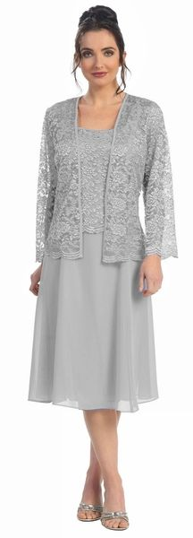 This short A line modest knee length silver dress is perfect for mother of the bride or another formal occasion. This lace with pebble dress has wide sleeveless tank straps and also includes a matchin